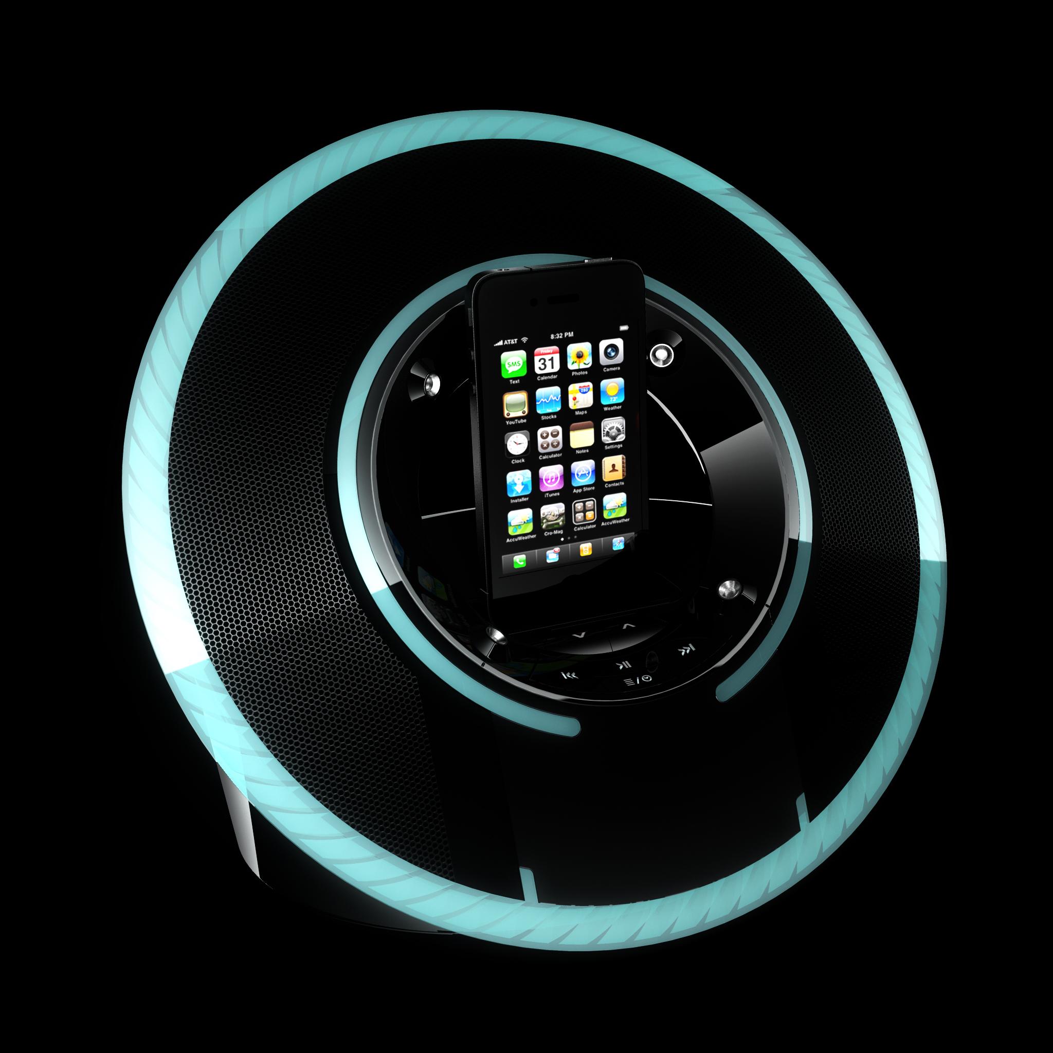 Das Monster Cable Dock greift die Lichteffekte der Identity Disc auf