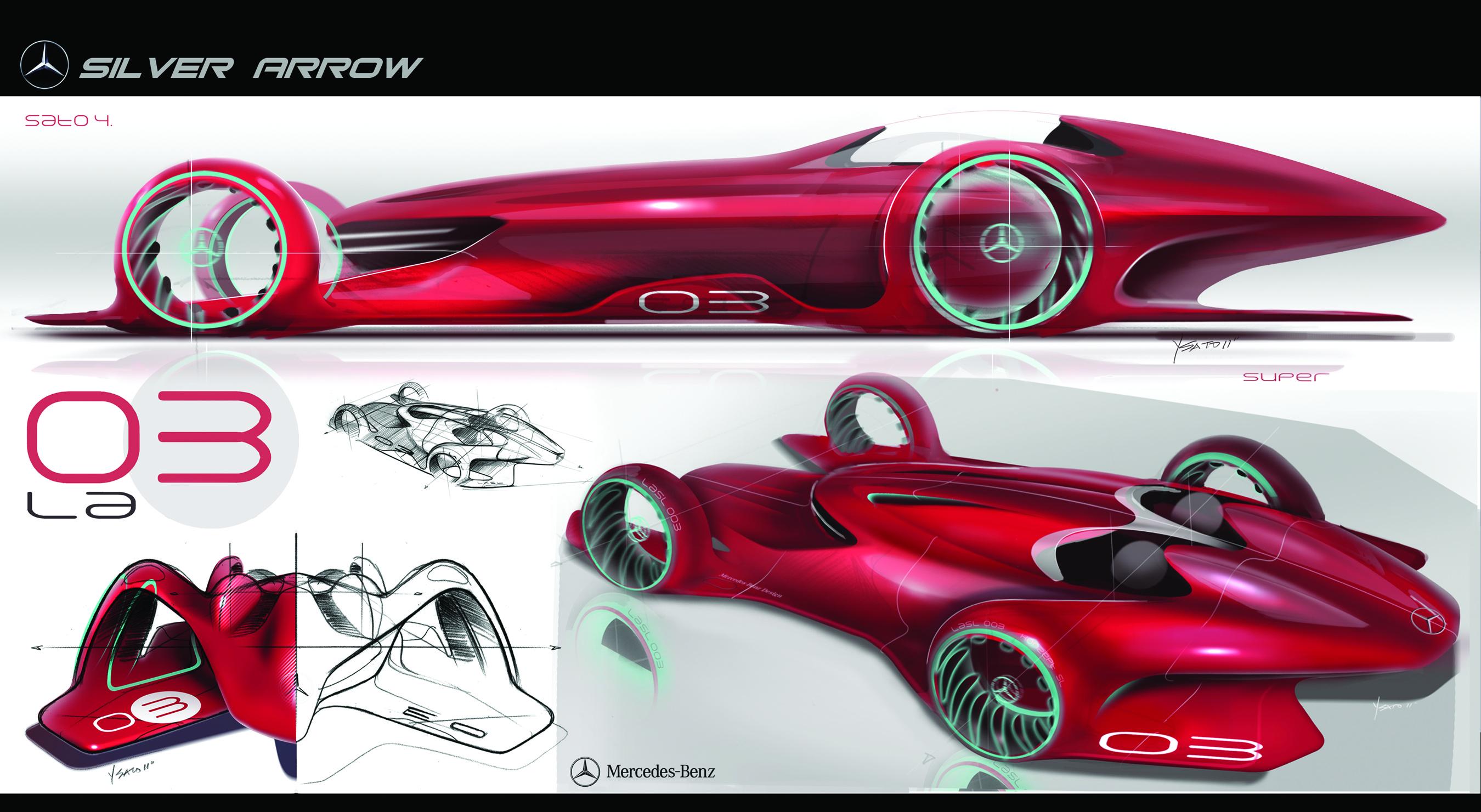 Mercedes tauft seinen Entwurf Silver Arrow, auch wenn die Studie in Rot daherkommt