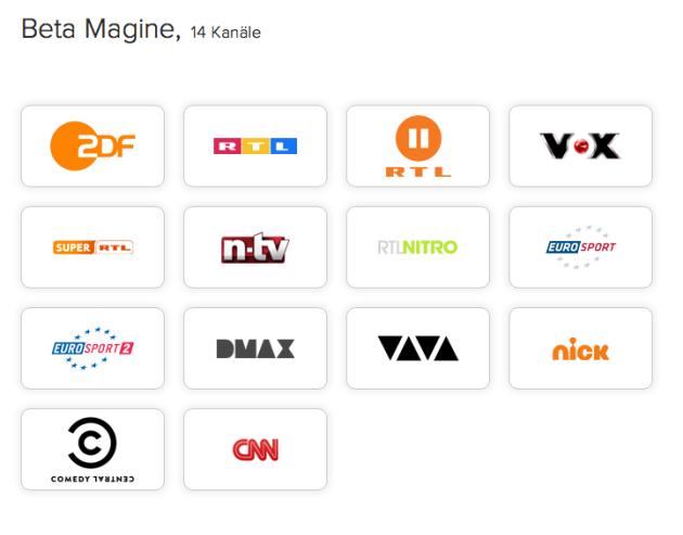 Die aktuelle Senderauswahl bei Magine